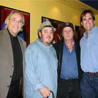 (l-r) Comic icons Robert Klein / Stephen Wright with Laugh for Sight Pres. B. Fischler (hat)